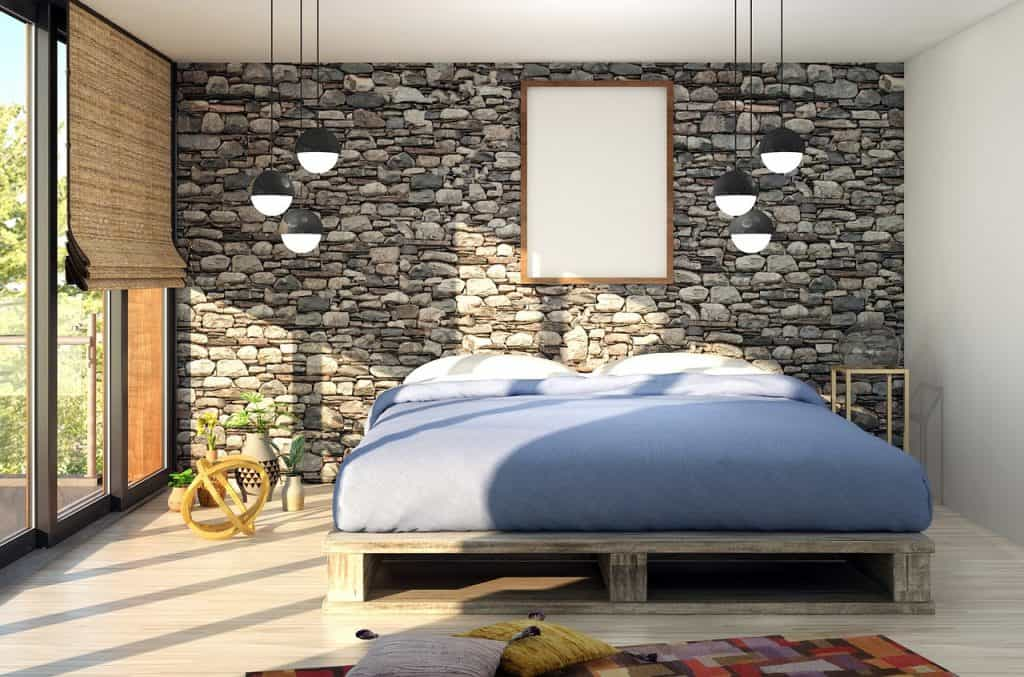 חדר שינה מעוצב בלבנים