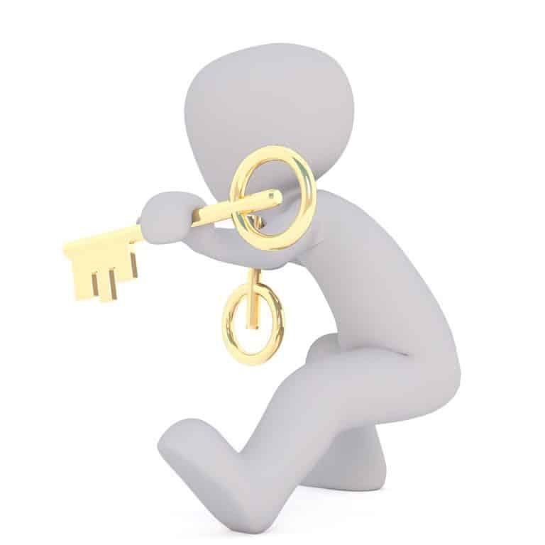 אילוסטרציה של אדם מחזיק מפתח זהב